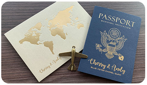 bespoke destination travel theme passport wedding invitation card designer Hong Kong